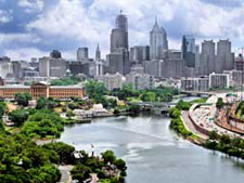 Philadelphia city scape over the schuylkill river