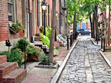Philadelphia city cobblestone steets